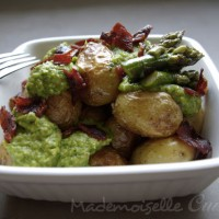Pommes de terre de l&#039;Ile de R, pesto d&#039;asperges et chorizo croquant