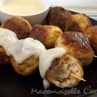 Boulettes de poulet au chorizo, sauce au fromage de brebis